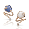 18k Rose Gold Joli Earrings with White Agate and Lapis Lazuli Doublet, White Agate and Mother of Pearl Doublet, White and Champagne Diamonds