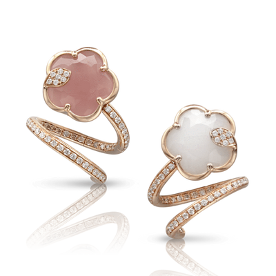 18k Rose Gold Joli Earrings with Pink Chalcedony, White Agate and Mother of Pearl Doublet, White and Champagne Diamonds