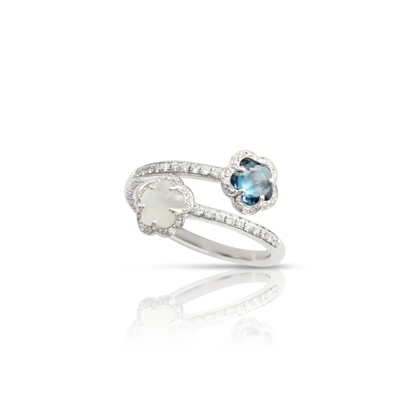 18k White Gold Figlia dei Fiori Ring with London Blue Topaz, Moonstone and Diamonds