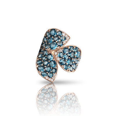 18k Rose Gold Segreti di Luna Ring with London Blue Topaz and Diamonds