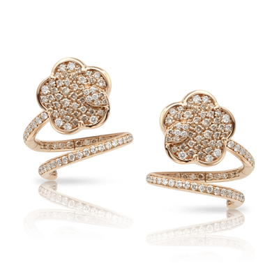 18k Rose Gold Joli Earrings with White and Champagne Diamonds