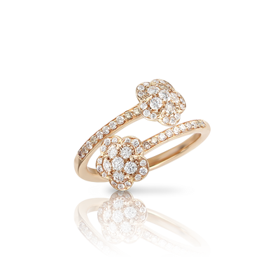 NEW 18k Rose Gold Figlia dei Fiori Ring with White and Champagne Diamonds