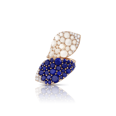 18k Rose Gold Lakshmi Ring with Lapis Lazuli, Moonstone and Diamonds