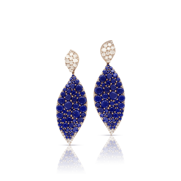 18k Rose Gold Lakshmi Earrings with Lapis Lazuli, Moonstone and Diamonds