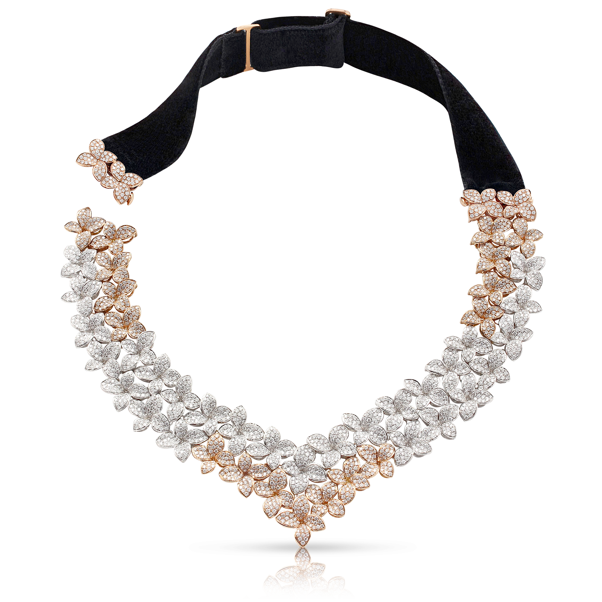 NEW 18k White and Rose Gold Goddess Garden Necklace with White and Champagne Diamonds and Velvet Strap
