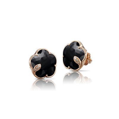 NEW 18k Rose Gold Petit Joli Earrings with Onyx, White and Champagne Diamonds