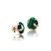 18k Rose Gold Petit Joli Earrings with Green Agate, White and Champagne Diamonds