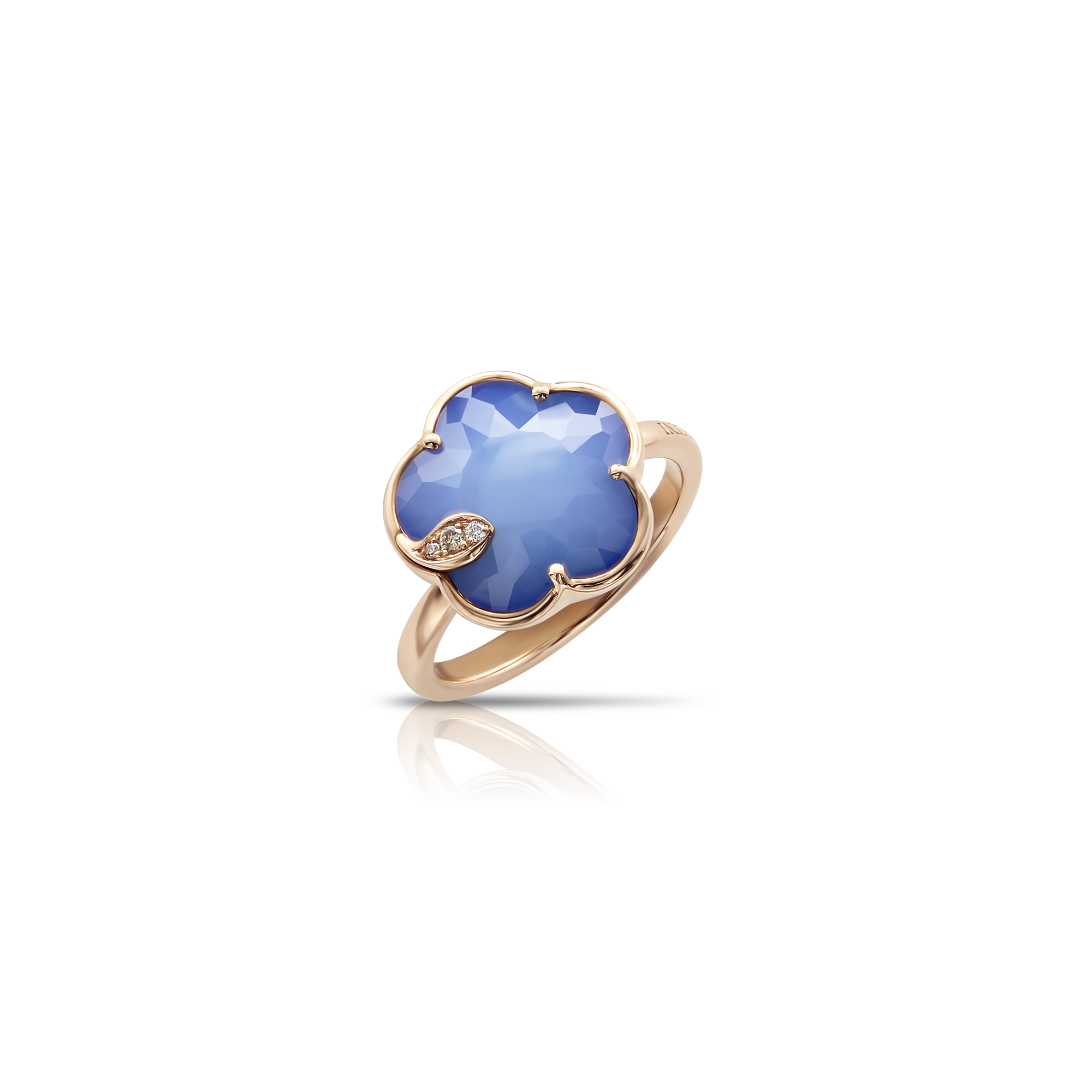 18k Rose Gold Petit Joli Ring with White Agate and Lapis Lazuli Doublet, White and Champagne Diamonds