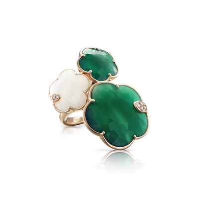 NEW 18k Rose Gold Ton Joli Ring with White Agate, Green Agate, White and Champagne Diamonds