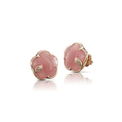 NEW 18k Rose Gold Petit Joli Earrings with Pink Chalcedony, White and Champagne Diamonds