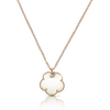 18k Rose Gold Petit Joli Necklace with White Agate, White and Champagne Diamonds