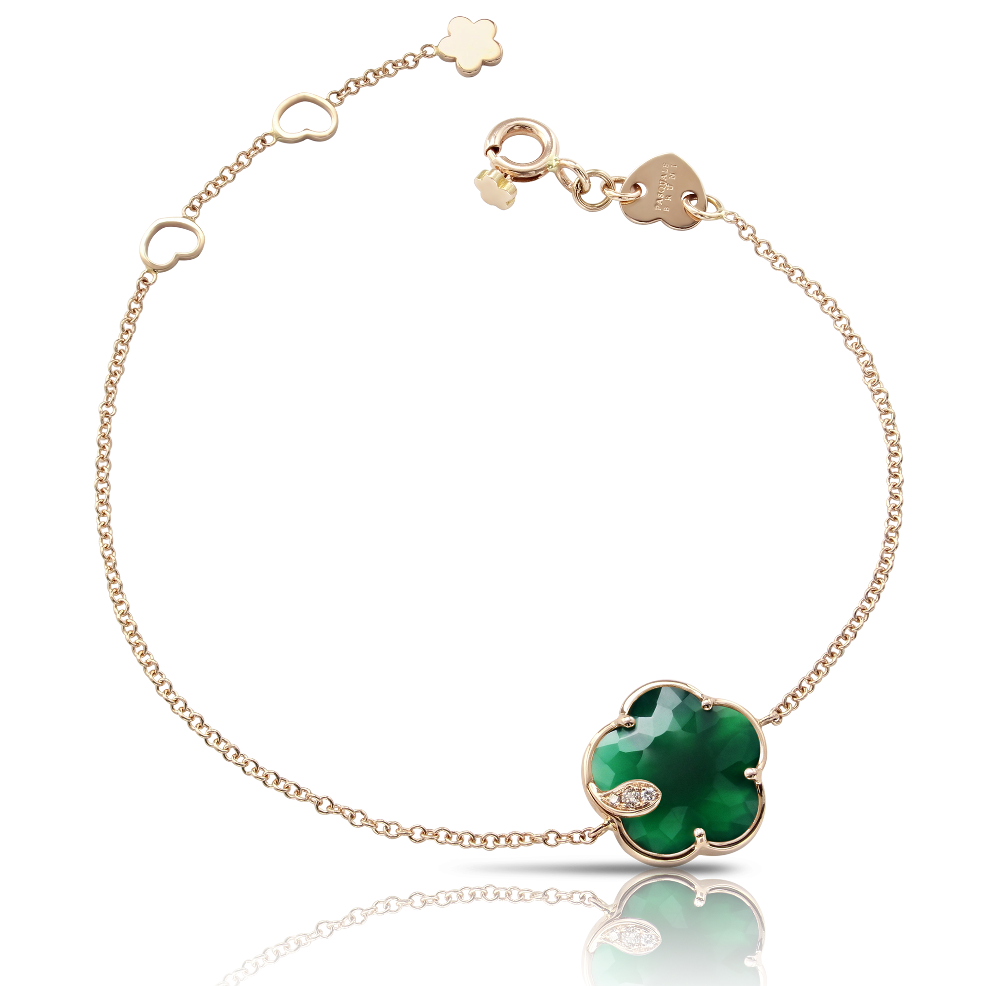 18k Rose Gold Petit Joli Bracelet with Green Agate, White and Champagne Diamonds