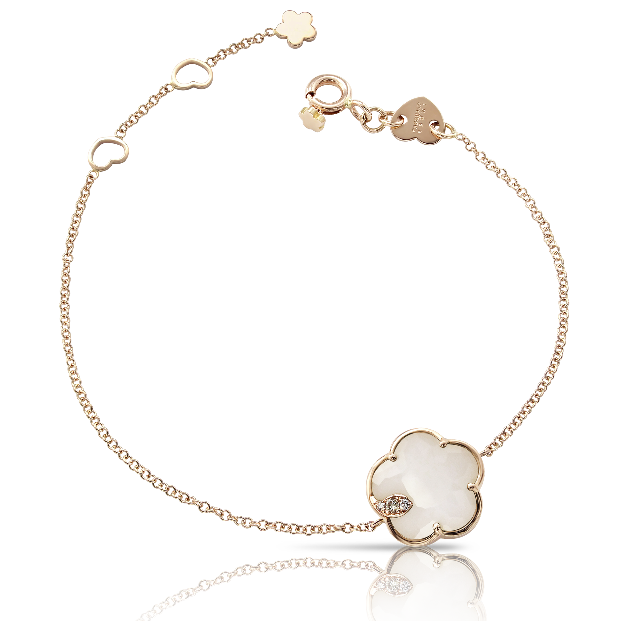 NEW 18k Rose Gold Petit Joli Bracelet with White Agate, White and Champagne Diamonds