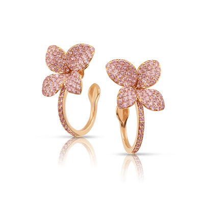 18k Rose Gold Petit Garden Earrings with Pink Sapphires