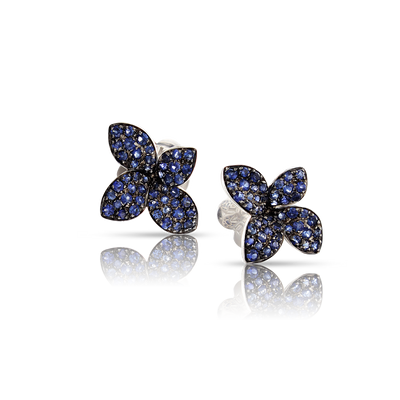 18k White Gold Petit Garden Earrings with Blue Sapphires