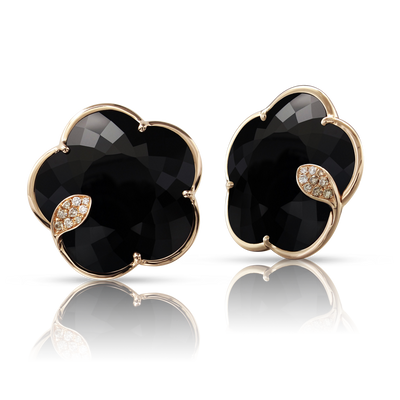 NEW 18k Rose Gold Ton Joli Earrings with Onyx, White and Champagne Diamonds
