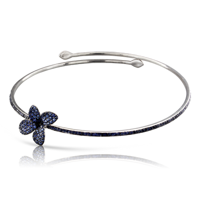 18k White Gold Petit Garden Necklace with Blue Sapphires