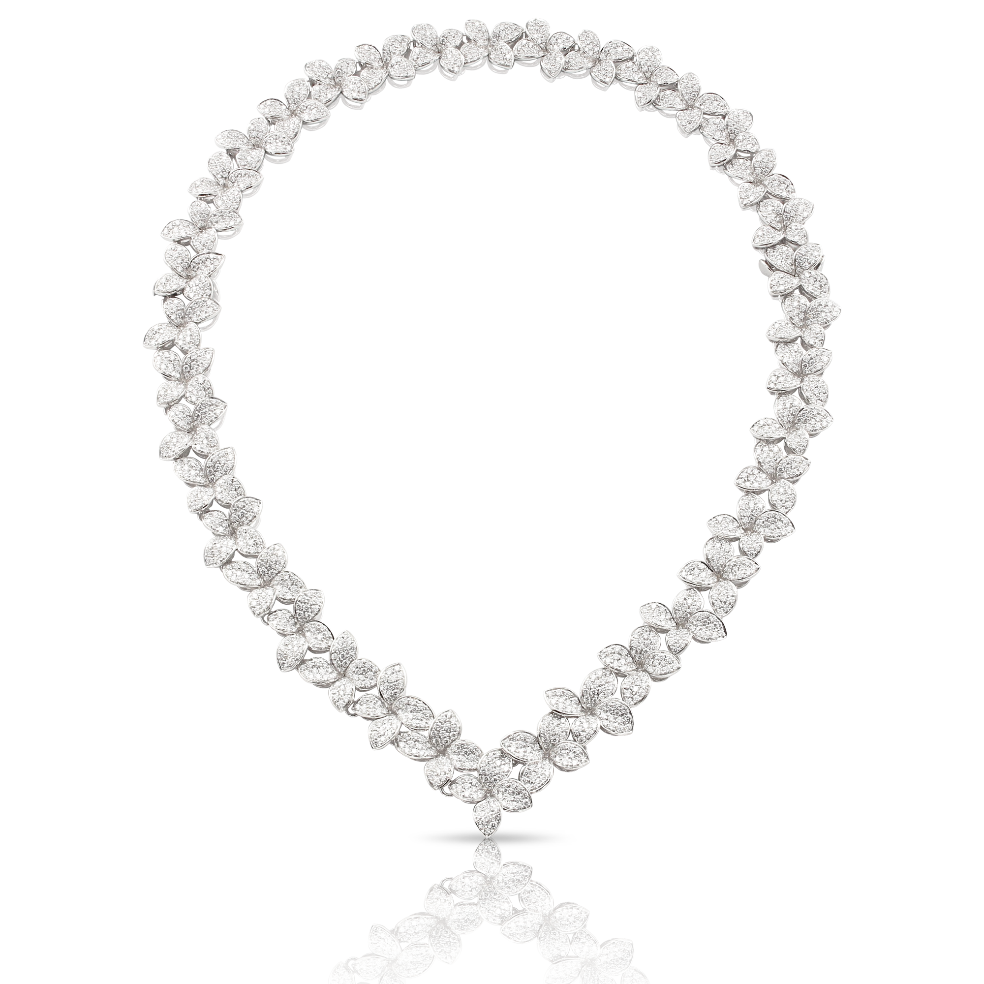 18k White Gold Goddess Garden Necklace with White Diamonds