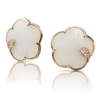 18k Rose Gold Ton Joli Earrings with White Agate, Mother of Pearl, White and Champagne Diamonds