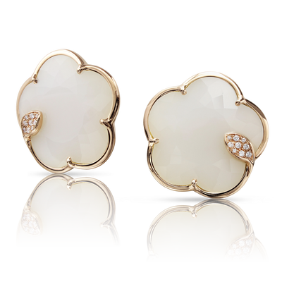 NEW 18k Rose Gold Ton Joli Earrings with White Agate, Mother of Pearl, White and Champagne Diamonds