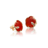 18k Rose Gold Petit Joli Earrings with Red Carnelian, White and Champagne Diamonds