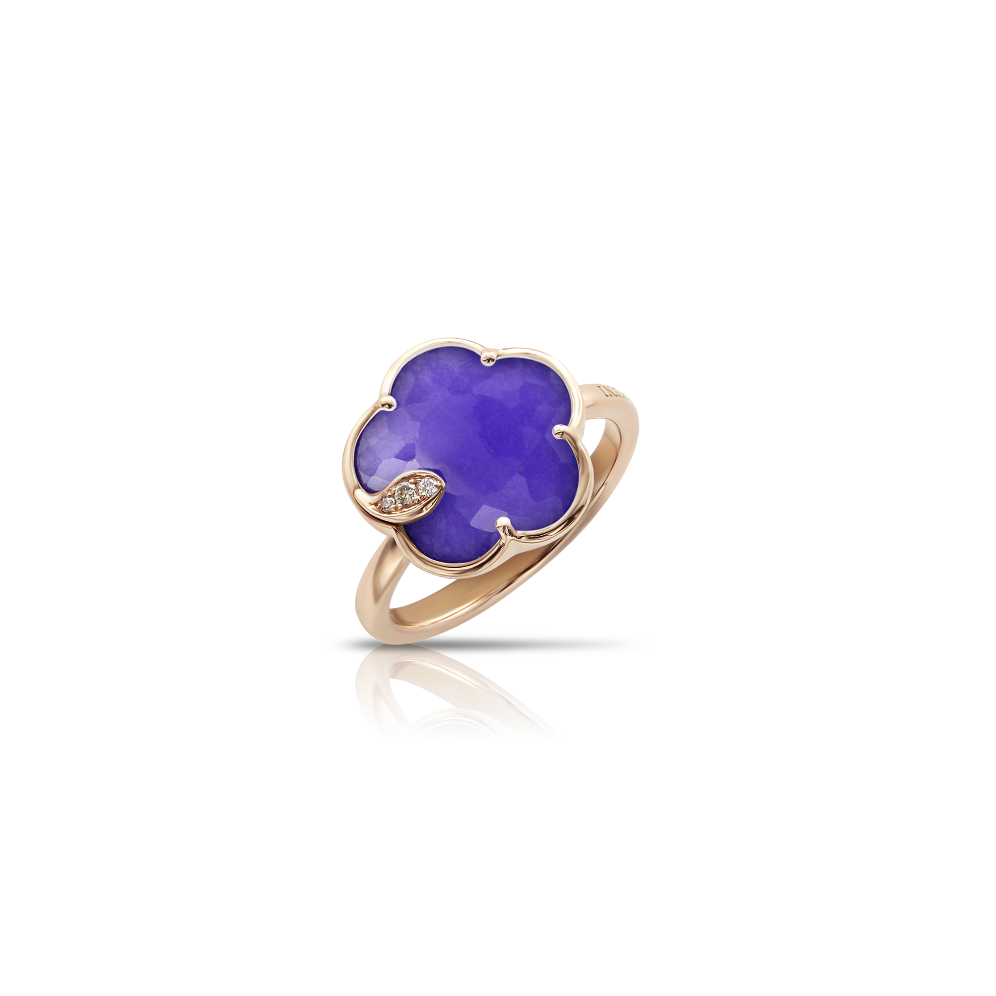 18k Rose Gold Petit Joli Ring with Violet Quartz, White and Champagne Diamonds