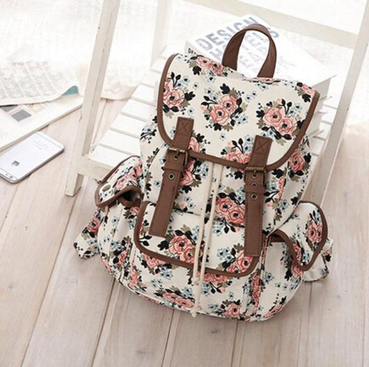 HEYFAIR Women Casual Floral Canvas School College Backpack Cute Bags Daypack
