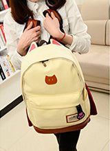 HEYFAIR Child's Girl's Canvas Cat's Ears Backpack School Bag Laptop Rucksack