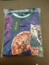 HEYFAIR Women's Loose Cat Galaxy Print Crew Neck Pullover Sweatshirt