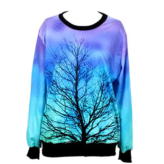 HEYFAIR Women's Digital Print Crew Neck Pullover Sweatshirt