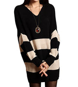 HEYFAIR Women's Stripe V Neck Loose Knitted Long Sleeve Pullover Sweater Jumper