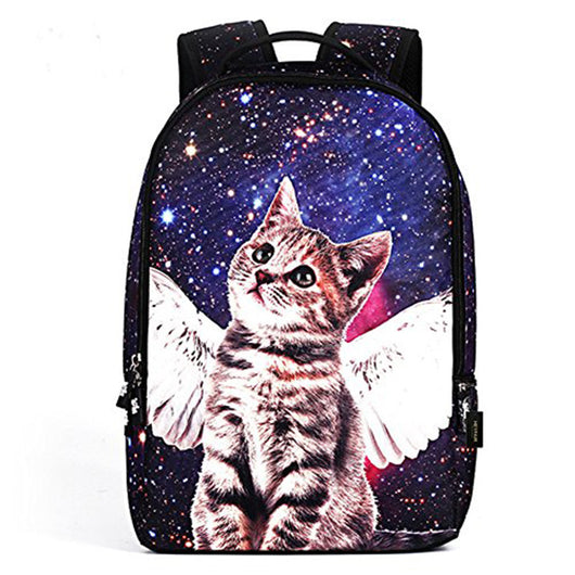 HEYFAIR Women 3D Cat Galaxy Backpack School College Starry Sky Bag Travel Daypack