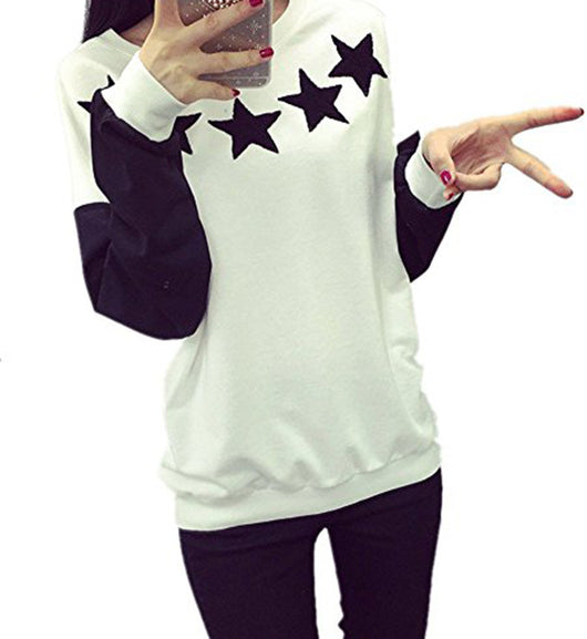 HEYFAIR Women's Loose Crew Neck Pullover Sweatshirt No Hood with Star Print