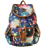HEYFAIR Women Casual Galaxy Print Canvas Backpack School College Bags Travel Daypack