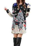 HEYFAIR Women Loose Snowman Pattern Crewneck Pullover Sweatshirt