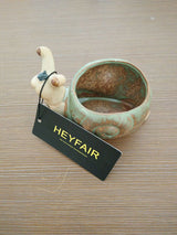 HEYFAIR Ceramic Snail Retro Flower Pot Succulent Plant Planter