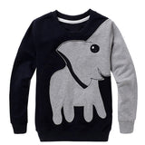 HEYFAIR Cute Elephant Crew Neck Pullover Sweatshirt No Hood for Women Girls