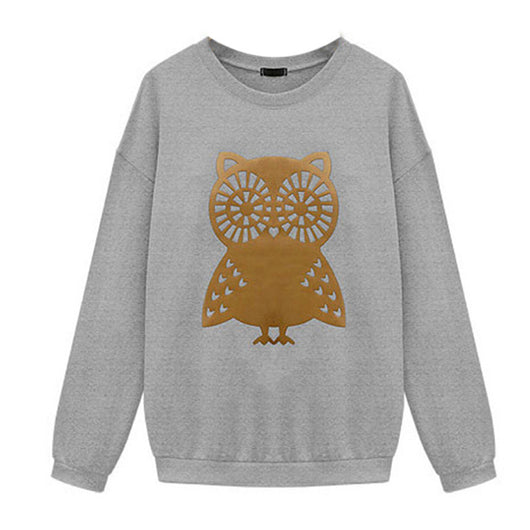 HEYFAIR Women's Cute Owl Pattern Crew Neck Pullover Sweatshirt