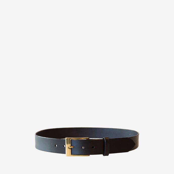Black Leather Belt with Brass Dress Buckle