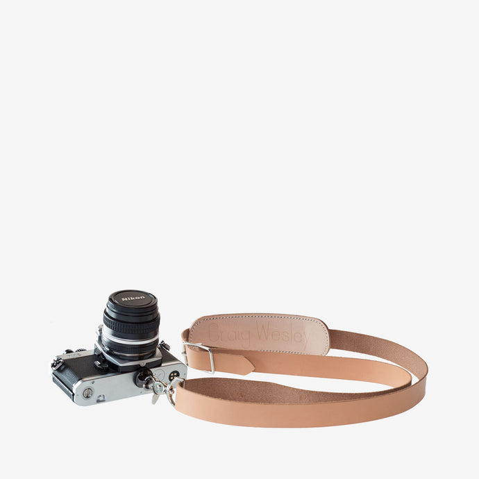 Personalized Leather Camera Strap - Natural