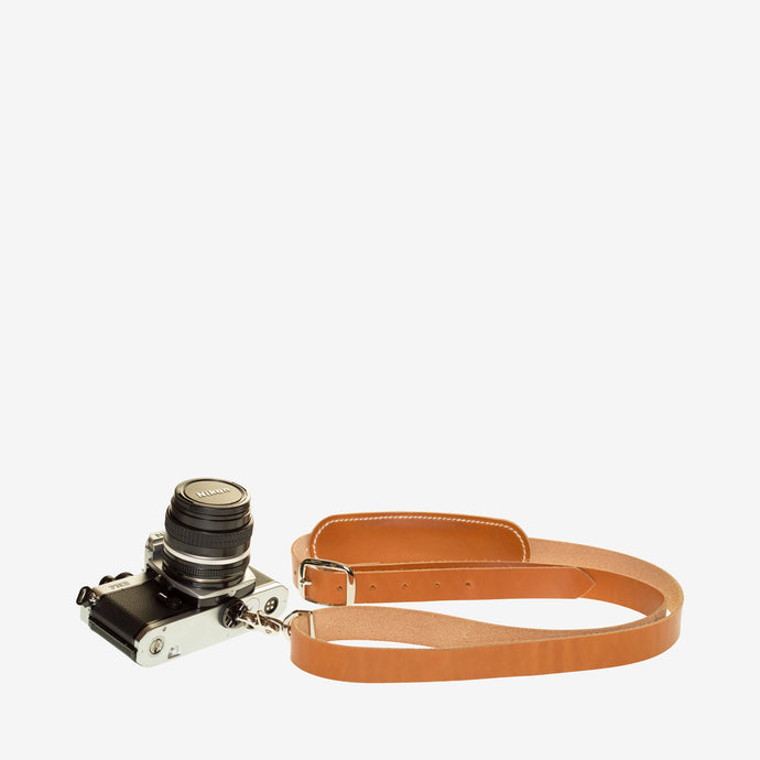 Personalized Leather Camera Strap - Brown