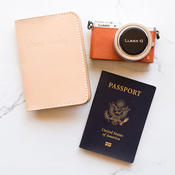 Personalized Leather Passport Cover - Natural Saddle Stitched