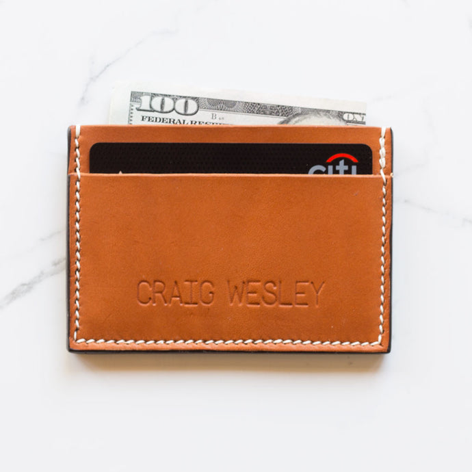 Personalized Leather Cardholder 3 Slots