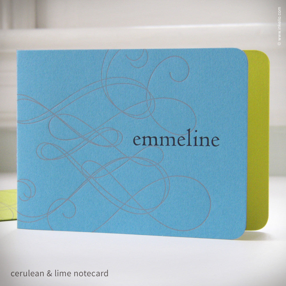 Swirly Personalized Notecards (#192) Stationery - Inkello Letterpress
