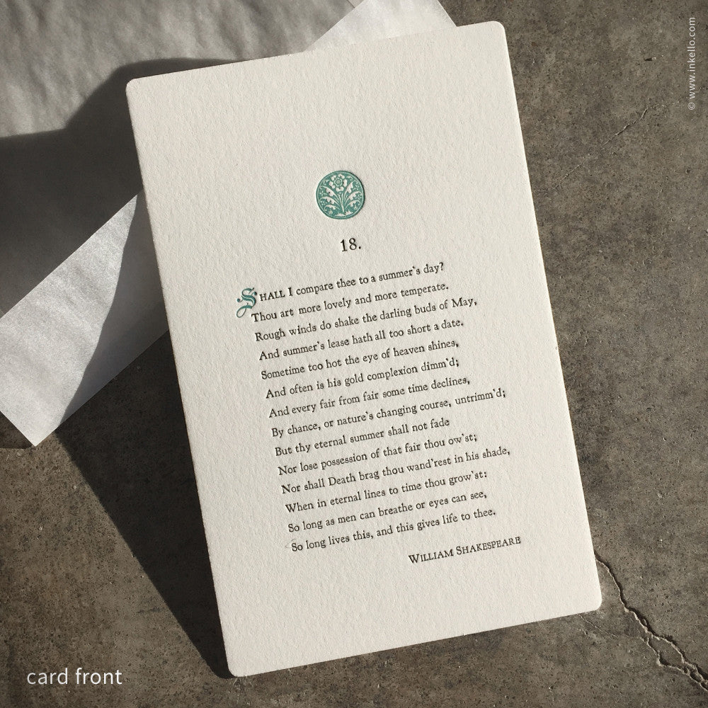 Shakespeare's 18th Sonnet Card (#204) Greeting Card - Inkello Letterpress