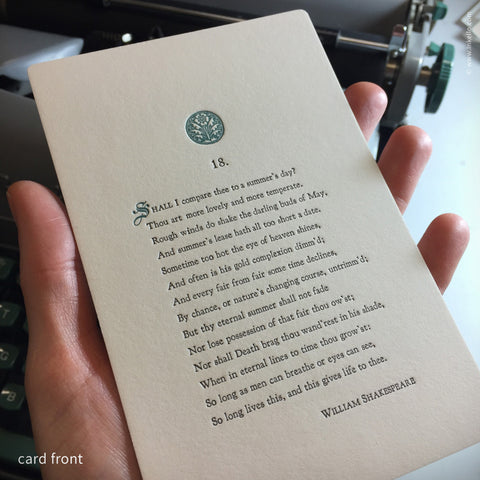 Shakespeare's 18th Sonnet Card {#204} - Inkello