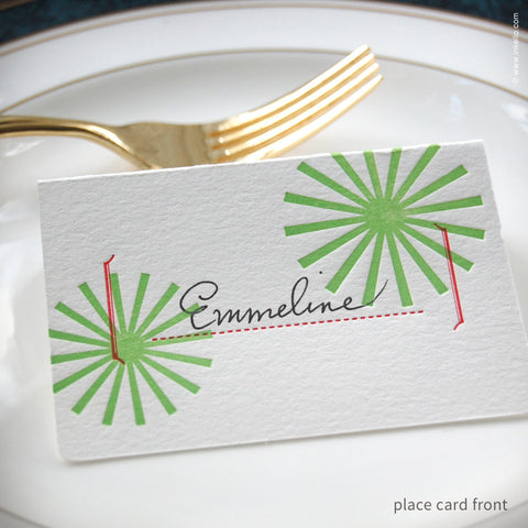 Star Burst Holiday Place Cards (#219) Place Cards - Inkello Letterpress
