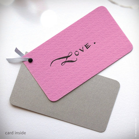 "Pink ""LOVE"" Mini Valentine with Kraft Envelope (#222) Gift Card - Inkello Letterpress"