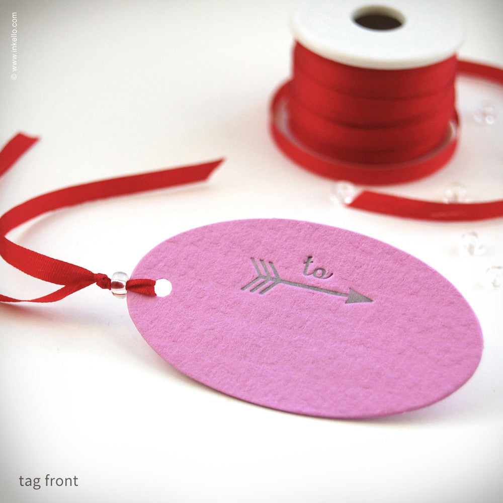Pink Valentine Gift Tag (#253) Gift Tag - Inkello Letterpress