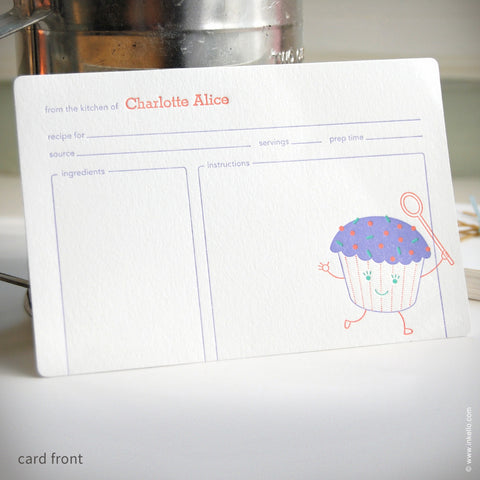 Cupcake Personalized Recipe Cards (#259) Recipe cards - Inkello Letterpress